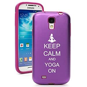Purple Samsung Galaxy S4 S IV i9500 Aluminum & Silicone Hard Back Case Cover KA981 Keep Calm and Yoga On