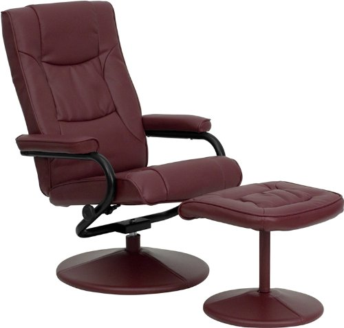 Burgundy Leather Furniture - Flash Furniture Contemporary Burgundy Leather Recliner and Ottoman with Leather Wrapped Base