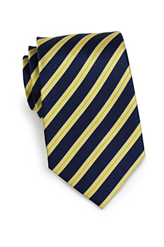 Bows-N-Ties Men's Necktie Luxe Stripes Silk Satin Tie 3.25 Inches (Navy, ()
