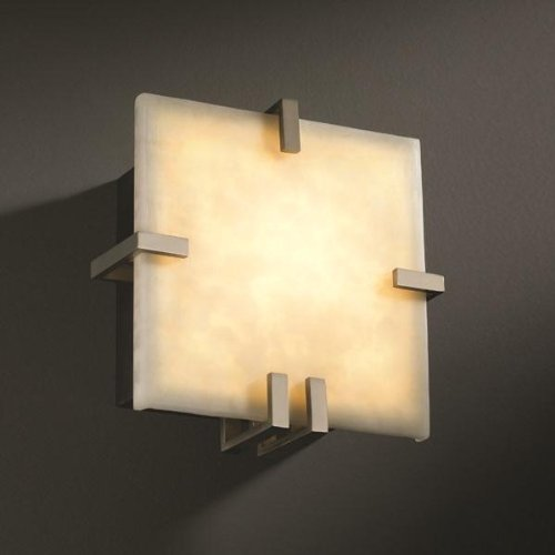 Justice Design CLD-5550-DBRZ Clips Square Wall Sconce (ADA), Choose Finish: Dark Bronze Finish, Choose Lamping Option: Standard Lamping (Square 5550 Clips)