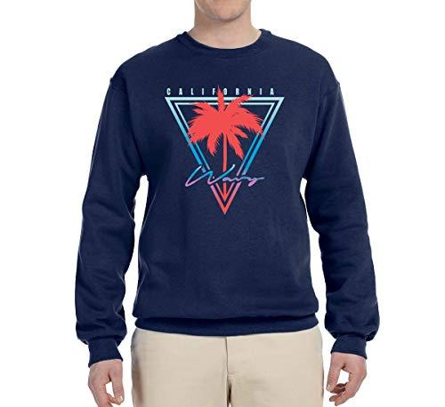 (California Wavy West Coast Vibes | Mens Fashion Crewneck Graphic Sweatshirt, Navy, 3XL)