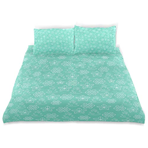 Amanda Billy Blue Christmas Snowflake Decoration Bedding 3 Piece Set Bedding Set Full Set 66 × 90 in Bed Cover, 2 Pillowcase Pattern Soft Microfiber Bed Cover Set Children's Gift -