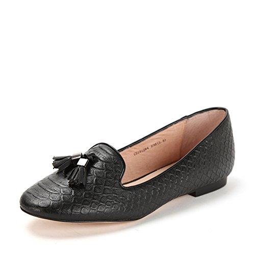 Primavera zapatos de cuero de piel de serpiente/Zapatos de borlas/Zapatos planos de luz Negro