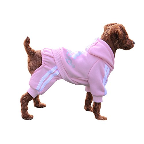 EastCities Winter Puppy Hoodie for Small Dogs Warm Coat Sweater Four Legs Pet Clothes for Dog Cat,Pink L]()
