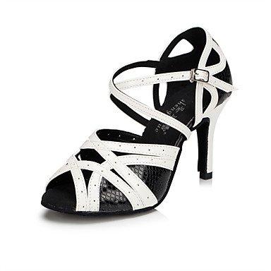 XIAMUO Anpassbare Damen Tanzschuhe Latein/Tap/Modern/Samba Kunstleder Stiletto Heel Schwarz, Schwarz und Weiß, US 9 / EU 40/UK7/CN41