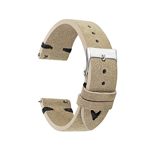 KZfashions Genuine Leather Watch Bands for Quickly Release Pattern Sude Leather Watch Straps Replacement watchbands 18mm 20mm 22mm (18mm, Cream Color with Black Stitching) ()
