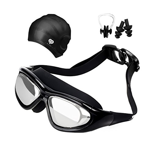 Swimming Goggles, No Leaking, Anti-Fog, UV Protection Swimming Glasses with Swimming cap,...