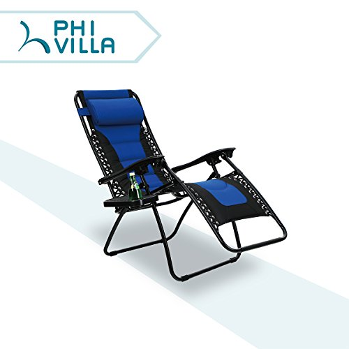 PHI VILLA Padded Zero Gravity Lounge Chair Patio Foldable Adjustable Reclining with Cup Holder for Outdoor Yard Porch Blue (Chairs Gravity)