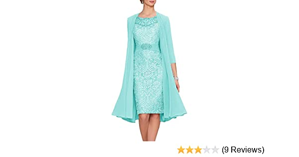 d0e6de47f1d Chiffon Lace 2 Pieces Mother of The Bride Short Formal Gowns Dress with  Jacket Aqua US2 at Amazon Women s Clothing store