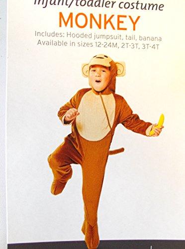 [Monkey Hooded Jumpsuit Child Infant Costume Banana 12-24 M NIP] (Banana Baby Infant Costumes)