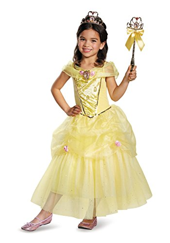 [Disguise Belle Deluxe Disney Princess Beauty & The Beast Costume, Medium/7-8] (Beauty And The Beast Costume Belle)