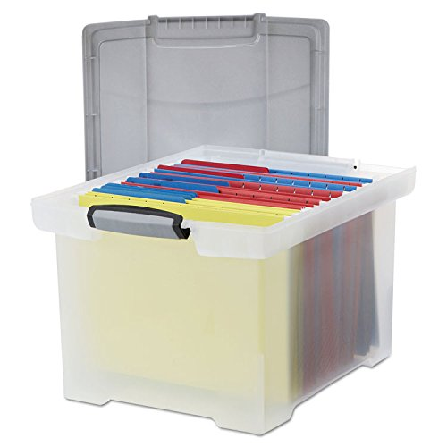 Storex 61530U01C Portable File Tote w/Locking Handle Storage Box Letter/Legal Clear by Storex