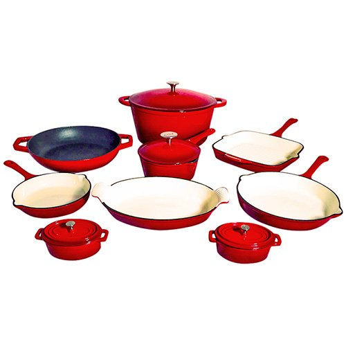 Le Chef 13 Piece ALL Enameled Cast Iron Cherry Cookware Set.