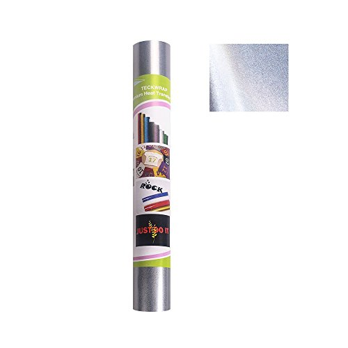 Reflective Iron On HTV Vinyl For T-shirts,Party Clothing,DIY Embellishments,12'x20' 2 Sheets/Bundle, Reflective Heat Transfer Vinyl(Grey to White)