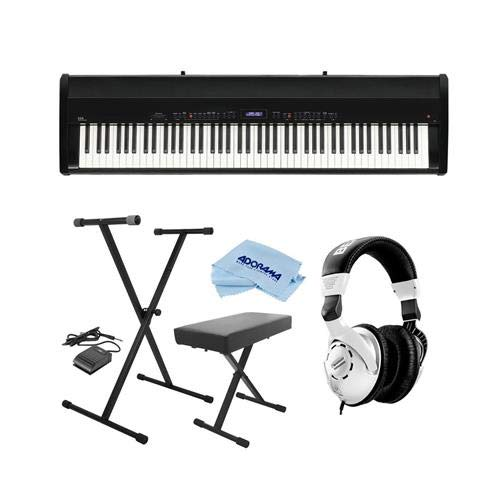 Kawai ES8 88-Key Portable Digital Piano, Stylish Black - Bundle With Behringer HPS3000 High-Performance Studio Headphones On-Stage KB8904B Deluxe Piano Bench with Storage Compartment, Microfiber Cloth by Kawai