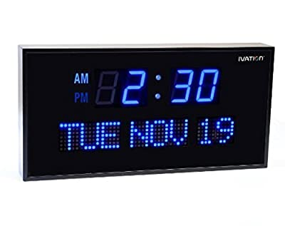 Ivation Big Oversized Digital Blue LED Calendar Clock with Day and Date