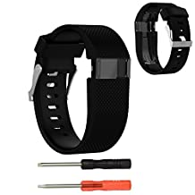 XBERSTAR Replacement Silicone Wrist Accessory Band Strap Watchband for Fitbit Charge HR Wireless Activity Fitness Tracker Smart Watch (Black-large)