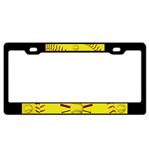 AMZ Decorative Frames Softball Universal License Plate Frame Aluminum Metal, Black Humor Funny License Plate Cover, 2 Holes with Screws Car Tag Holder for US Standard