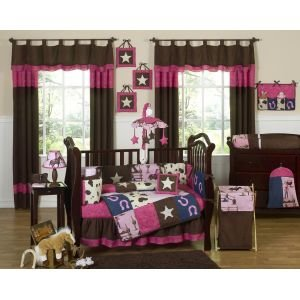 Sweet Jojo Designs 9-Piece Western Horse Cowgirl Pink and Brown Baby Girl Bedding Crib Set