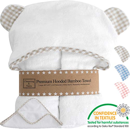 Premium Baby Towel with Hood Plus Bonus Washcloth - Organic Baby Towels and Washcloths - Hooded Towels for Baby - Large Bamboo Baby Bath Towel - Toddler/Baby Boy or Baby Girl Gifts (Beige)