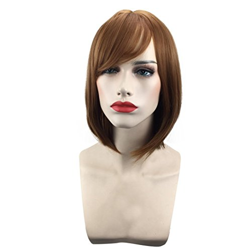 Sinwo Fashion Bob Style Wig Women's Short Straight Full Hair Wigs Cosplay Party Neat Bangs (Style And Glamour Wig)