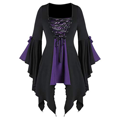 Women's Halloween Gothic Cross Sequins Mesh Strap Trumpet Sleeve Irregular Hem T-Shirt Top Purple