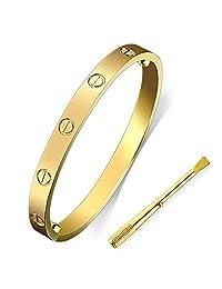 LZX-VICTOR Womens Fashion Buckle Bangle Titanium Steel Bracelet Love Bracelet Screw Bracelet Jewelry for Women (Gold, 7.5)