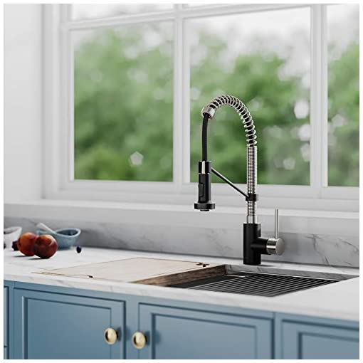 Farmhouse Kitchen Kraus KPF-1610SFSMB Bolden 18-Inch Commercial Kitchen Faucet with Dual Function Pull-Down Sprayhead in All-Brite Finish… farmhouse sink faucets