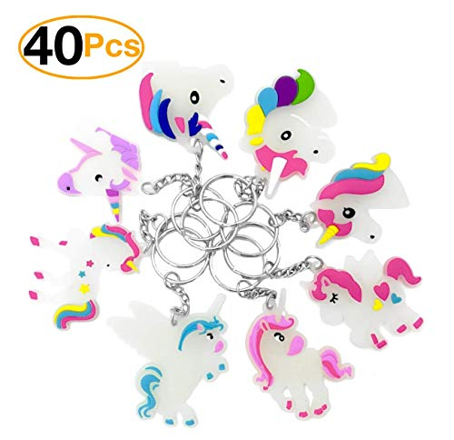Monqiqi Pack of 40 Unicorn Charms Glowing Unicorn Keychains for Birthday Party Favors -