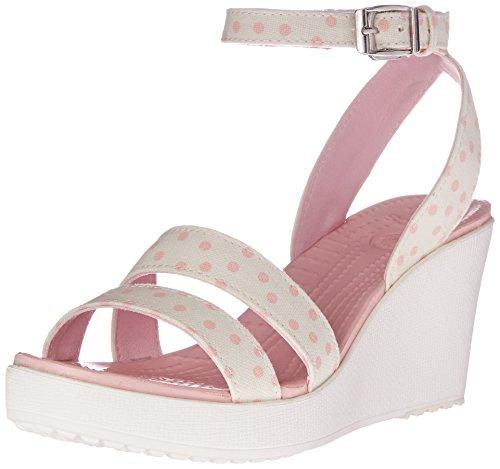 crocs Women's Leigh Graphic W Wedge Sandal, White/Pearl Pink, 9 B(M) US (Dot Pink Polka Sandals)