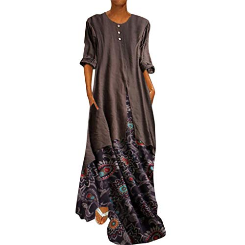 iYBUIA Women's Vintage Ethnic Printed Fake Two-Piece Long Sleeves O-Neck Button Lightweight Maxi Dresses Brown (Olivia Alice Sequin Dress)