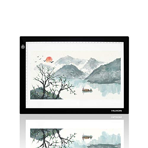 Huion L4S Light Box - 17.72 Inches USB ADJUSTABLE Illumination Light Panel only 5mm Thin Light Table with 5 A4 Tracing Papers and 1 Non-woven Bag L14.17