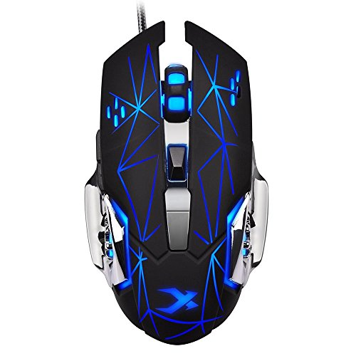 LENRUE Laser Gaming Mouse Wired with 6 Programable Buttons 4 Color Cycle Breathing, High Precision Metal Base, Used for games and office (Led bLack)