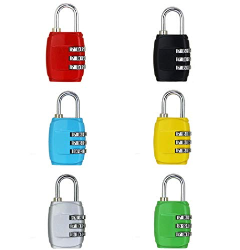 ZHW 4 Digit Combination Steel Padlocks - Approved Travel Lock for Suitcases & Baggage (3 Digit Combination Lock 6 Pack) by ZHW
