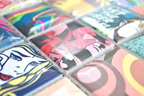 Bunte Retro Style Mosaikfliesen POP UP ART Design K/üchenr/ückwand MODERN ART