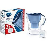BRITA Marella azul Pack Ahorro – Jarra de Agua Filtrada con 3 cartuchos MAXTRA+, Filtro de agua BRITA que reduce la cal…