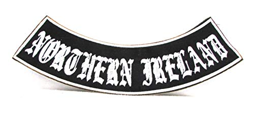 (Northern Ireland White on Black Iron on Bottom Rocker Patch for Biker Vest BR459)