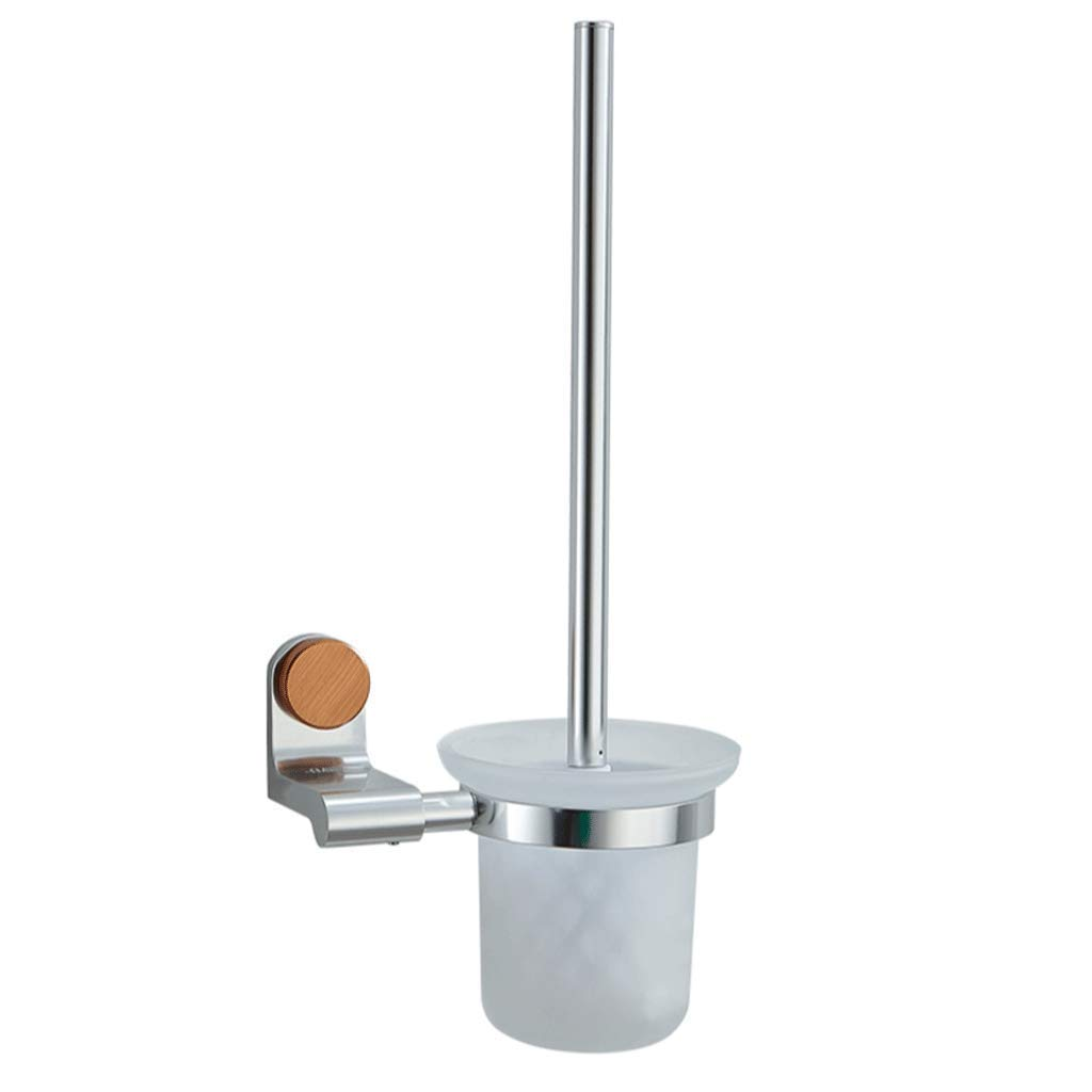 YXN Toilet Brush Holder Space Aluminum Thickening Bathroom Toilet Brush Glass Brush Cup Long Handle Bathroom Toilet Brush Holder H39 cm
