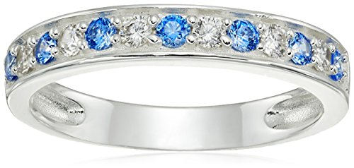 Sterling Silver Grade Cubic Zirconia 2mm Clear and Aqua Blue Ring, Size 6