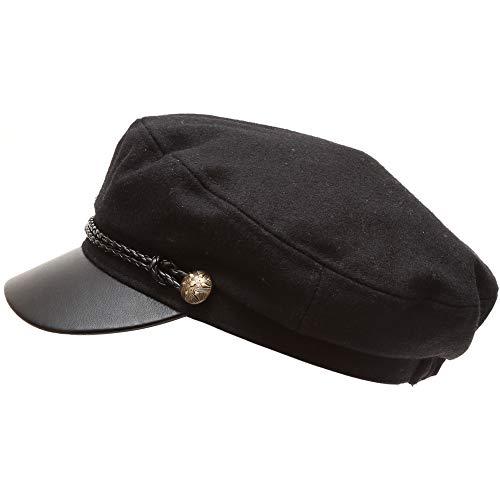 MIRMARU Women's Classic Mariner Style Greek Fisherman's Sailor Newsboy Hats with Comfort Elastic Back (3033 Black)