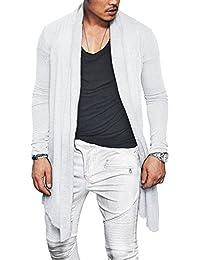 Men's Ruffle Shawl Collar Cardigan Lightweight Cotton Blend Long Length Drape Cape