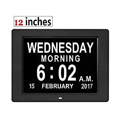Digital Day Clock 12 Inches Calendar for Memory Loss Alzheimers Dementia Patients Elderly Seniors Véfaîî Extra Large Non-Abbreviated Day Week Month with 6 Feet Power Cord (Black)