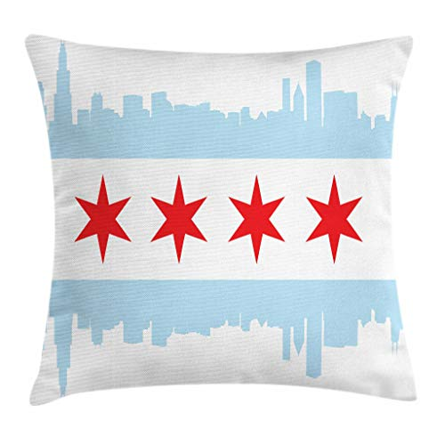 Ambesonne Chicago Skyline Throw Pillow Cushion Cover, City of Chicago Flag with High Rise Buildings Scenery National, Decorative Rectangle Accent Pillow Case, 26