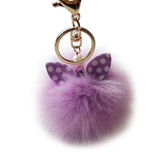 HANYI Artificial Rabbit Fur Ball Keychains For Women Bag Plush Car Key Ring Car Key Pendant (Leather Set Footboard)