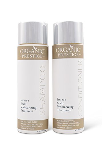 Luxury Shampoo and Conditioner SET (8 oz) - Natural, Organic Dandruff, Moisturizing, Volume, Psoriasis, Hair Loss, Detangler, Split Ends, Itchy Scalp, Sulfate Free, Paraben Free by Organic Prestige - Moisturizing Zinc Shampoo