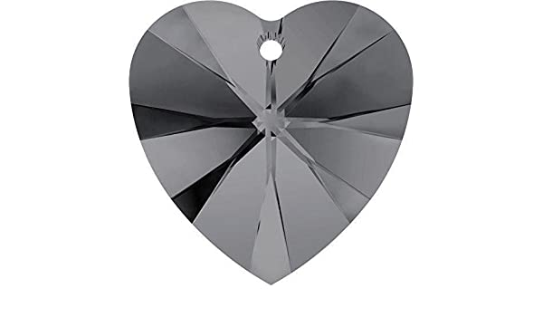 Swarovski 6228 Xilion Heart 14mm Pendant Crystal Silver Night Pack of 2