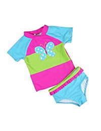Baby Toddler Girls 2 piece Rose Rash Guard Flower Lovely Bathing Suit