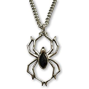 """Metal 2-1//8/"""" x 1/"""" SKULL SPIDER Pendant with 18/"""" Black Rope Necklace"""