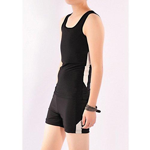 Carpeta pecho Baron Hong Mujeres Lesbianas Tomboy secado rápido Set de baño sin mangas + pantalones de natación (negro, XL)
