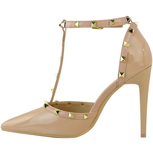High Size Thirsty Dark Fashion Leather Women Trim Stiletto Court Shoes Nude Party Rock Studded Patent Nude Heel Strappy Faux IPAIwq